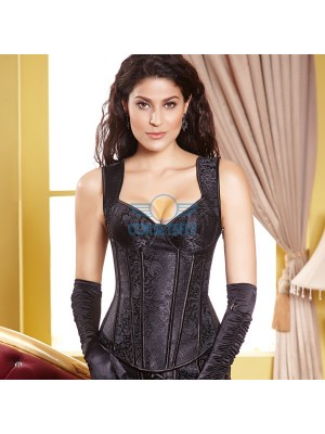 Comfortable Wide Straps Side Zipper Closure Black Brocade Overbust Corset CF5029