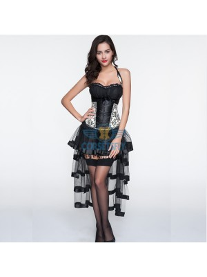 Cream Patterned Sweetheart Overbust Corset with Layered Long Tulle Skirt CF6831