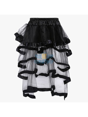 Elegance Organza Layered Tulle Tassels Long Tail Elasticated Waistband Skirt CF6510