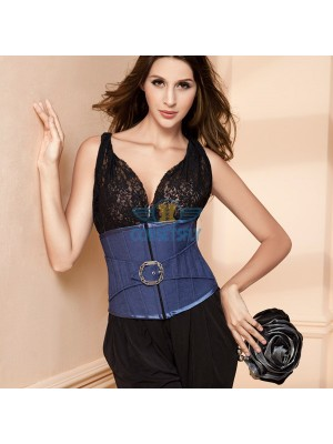 Elegant Blue Denim Stainless Buckle Waist Cincher Underbust Corset for Women CF5515