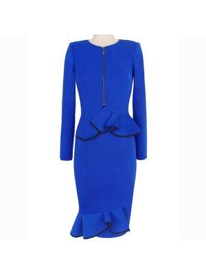 Elegant Retro Blue Front Zipper Peplum Midi Bodycon Pencil Dresses CF1640 Blaue_01