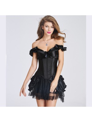 Elegant Ruffle Trim Plastic Boned Back Lace Up Corset Bustier CF6018