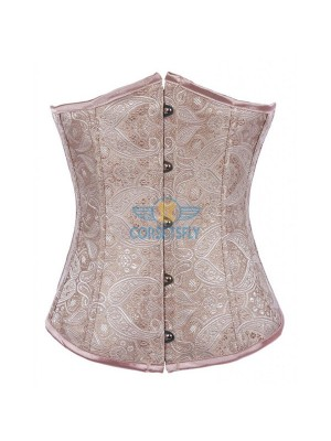 Fashion Classic Vintage Wedding Strapless Plastic Boned Satin Underbust Corset CF7511 Beige