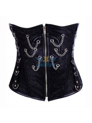 Fashion Faux Leather Zipper Steampunk Steel Boned Chain Underbust Corset CF7204