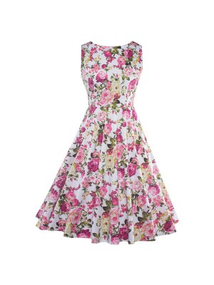 Floral Print Sleeveless Rockabilly Vintage Evening Party Classy Swing Dress CF1273 Pink_01