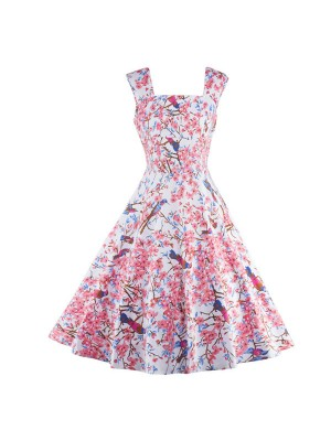 Floral Print Sleeveless Vintage Evening Party Classy Pink Swing Dress CF1268