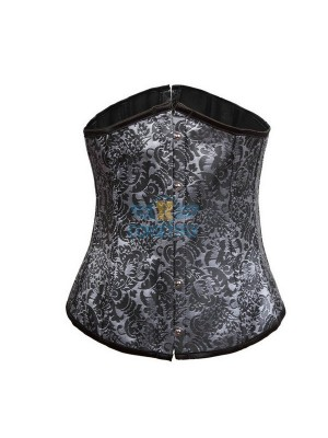 Flower Tapestry Front Busk Closure Lace Up Underbust Gray Corset CF7509