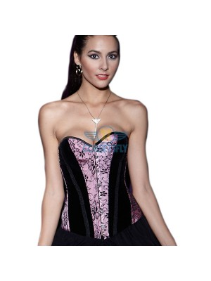 Front Busk Closure Pink Black Splicing Satin Overbust Strapless Corset CF5019