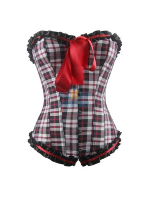 Funky England Style Ruffle Lace Trim Red Ribbon Bow Overbust Corset CF5117 Red