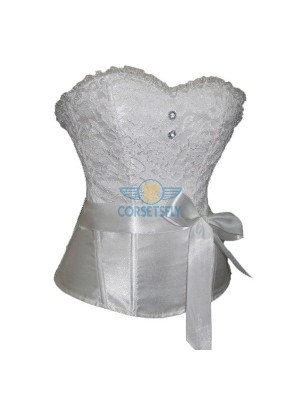 Graceful Floral Lace on Top Satin Strapless Corset with Shiny Ribbon CF5102  White