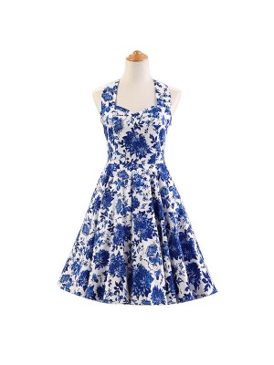 Halter 1950s Hepburn Rockabilly Floral Print Hepburn Circle Cocktail Dancing Dress CF1007
