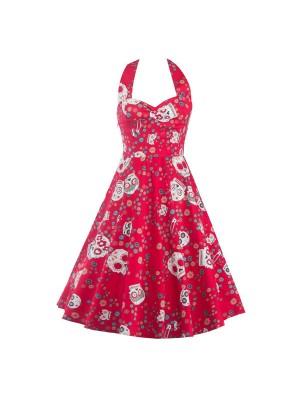 Halter Skull Sweetheart Neckline Vintage Chic Red Rockabilly Swing Dress CF1290