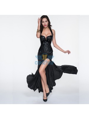 Halterneck Black Leather Overbust Corset With Gothic Long Split Skirt CF6807
