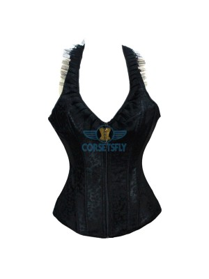 Ingenious Pleated Lace V Neck Reversible Zipper Closure Corset with Halter CF5140