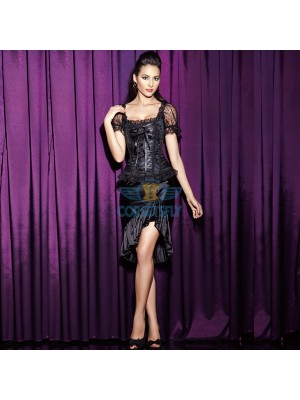 Lace Sleeves and Ribbon Sweetheart Corset Wiht Black Short Skirt CF6808