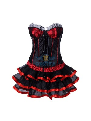 Lace Trim Lace Up Front Overbust Black Red Corset Dress CF7856