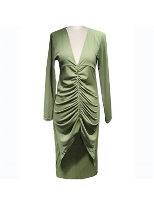 Lady's Chic Voguish V Neck Pleated Inspired Long Sleeve Pencil Dresses CF1636 Green_01