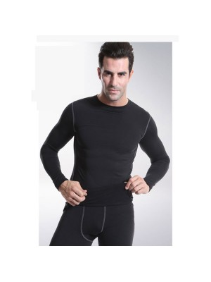 Men's Body Compression Athletic Abdomen Tights Shirt CF2213 black _01
