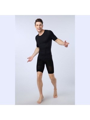 Men Slimming Compression Body Shaper Elastic Short Sleeve Undershirt CF2106