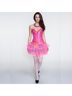 Pink Ruffle Trim Overbust Corset with Pink Ballet Tutu Petticoat CF6824