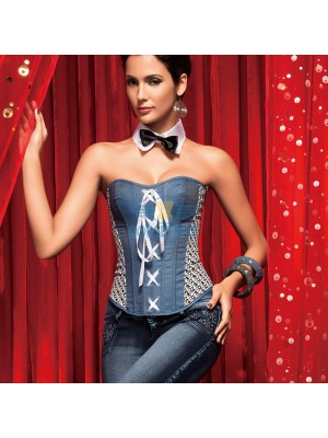 Premium Denim Blue Jeans Criss Cross Waist Training Overbust Corset CF5149