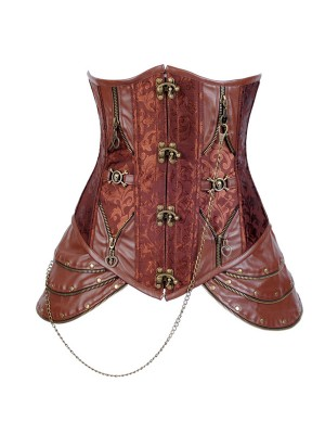Renaissance Faux Leather Steel Boned UnderBust Steampunk Costumes Corset CF8032
