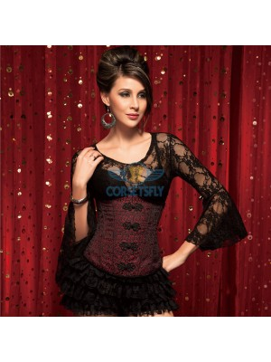 Retro Cotton Button Embellishments Front Zipper Red Black Underbust Corset CF5503