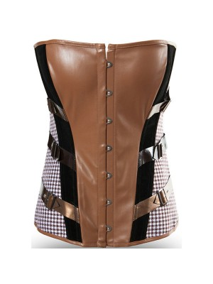 Retro Faux Leather Overbust Black and Brown Bustier Corset CF8078_01