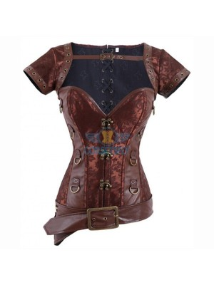 Retro Goth Steel Boned Brocade Steampunk Overbust Waist Training Corsets CF8096 Brown_01