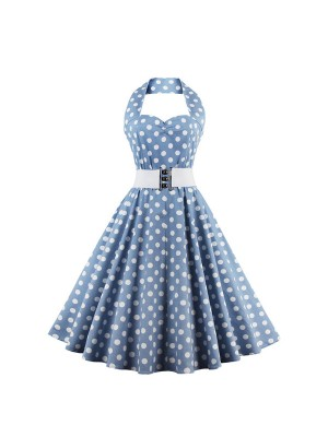 Retro Polka Dot Cocktail Swing Halter Classic Rockabilly Sleeveless Dress CF1388