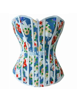 Retro Print Reversible Zipper Front Lace Up Back Overbust Corsets CF5003 Blue