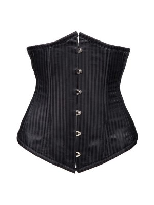 Retro Steel Boned Premium Pinstripe Lace-up Underbust Black Bustier Corset CF8077_01