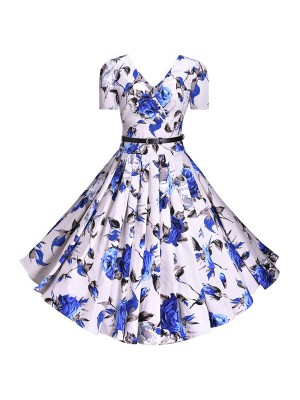 Retro V-Neck Vintage Rockabilly Short Sleeve Swing Floral Print Dress CF1505