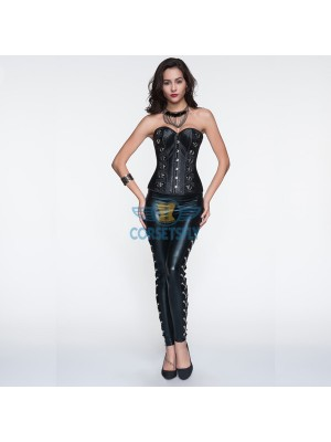 Rivet Embellishments Black Steampunk Corset and Punk Chain Wetlook Trousers CF6813