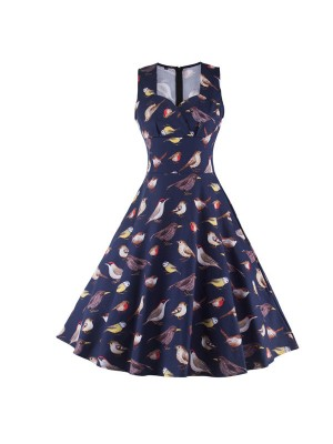 Rockabilly Bird Print Sleeveless Vintage Evening Party Classy Swing Dress CF1264