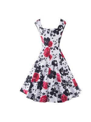 Rockabilly Floral Print Square Neck with Straps Vintage Swing Dress CF1261
