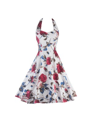 Rockabilly Floral Print Vintage Halter Sweetheart Neck Swing Dress CF1276