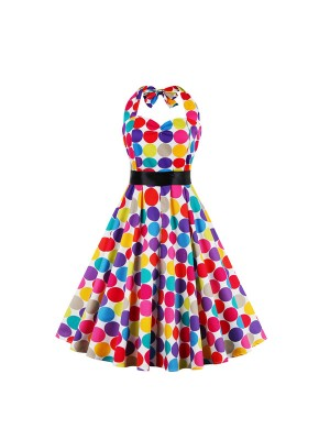 Rockabilly Polka Dot Halter Retro Cocktail Party Swing Dress CF1390