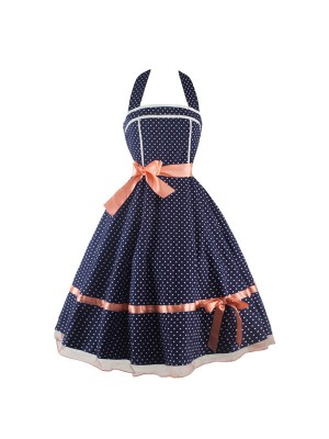 Rockabilly Polka Dot Print Vintage Halter Evening Party Swing Dress CF1275