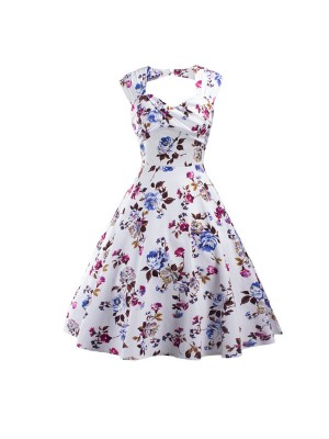 Rockabilly Swing 1950s Floral Print Sleeveless Vintage Evening Party Dress CF1239 Blue_01