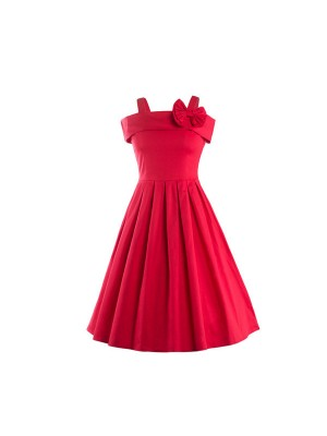 Rockabilly Swing 1950s Strappy Vintage Bowknot Evening Party Dress CF1237