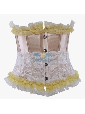 Ruffle Trim Lace Overlay Stainless Steel Busk Closure Underbust Corset CF5508