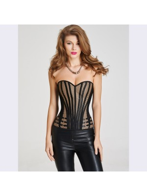 Sexy Body Shaper Lace Up Back Plastic Boned Satin Corset CF6025