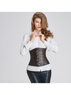 Sexy Side Zipper Leather Victorian Steampunk Zip Buckles Underbust Corset CF6007 black
