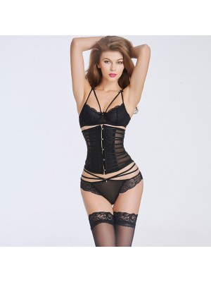 Sexy Transparent Stain  Underbust Corset Bustier With Front Steel Busk CF6016