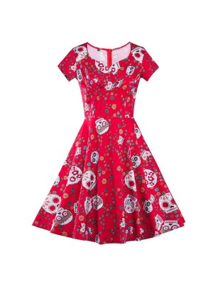Skull Floral Print Red Vintage Short Sleeve Rockabilly Swing Dress CF1292