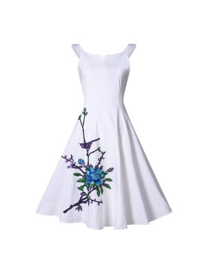 Sleeveless Swing 1950's Floral Audrey Hepburn Spring Garden Party Dress CF1392