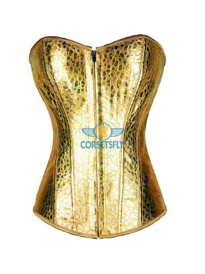 Snake Skin Faux Leather Front Zipper Strapless Burlesque Masquerade Corset CF7216