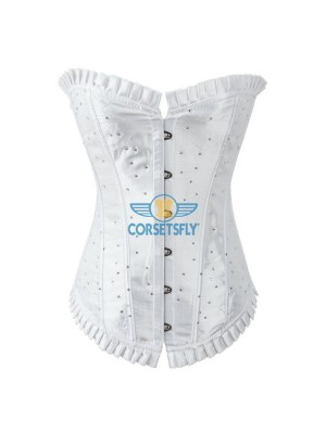 Sparkle Rhinestone Ruffle Trim On Top and Bottom Overbust Corset CF7038