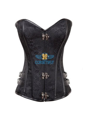 Spiral Steel Boned Steampunk Burlesque Side With Buckle Overbust Corset CF8016 Black